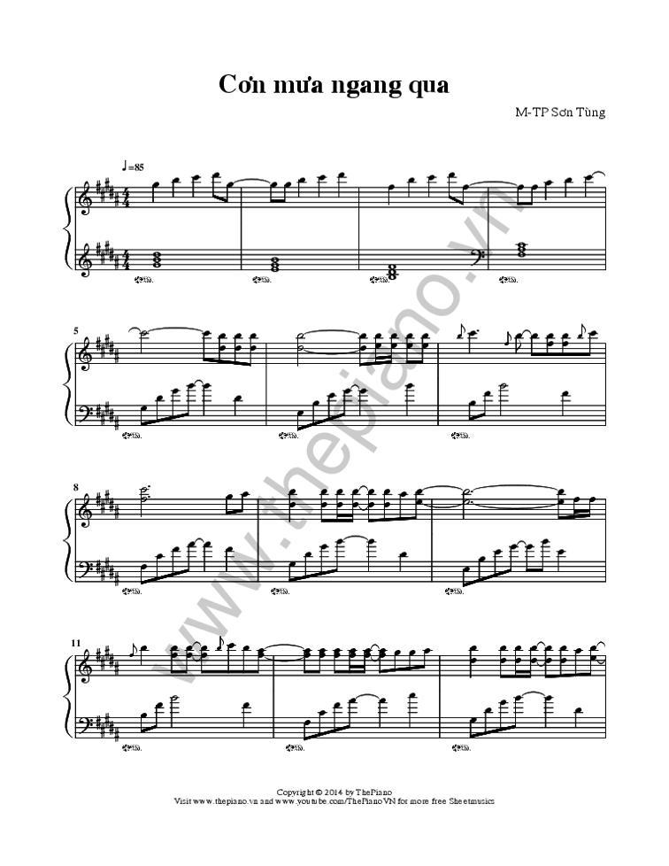 Sheet Nhạc Bài Cơn Mưa Ngang Qua